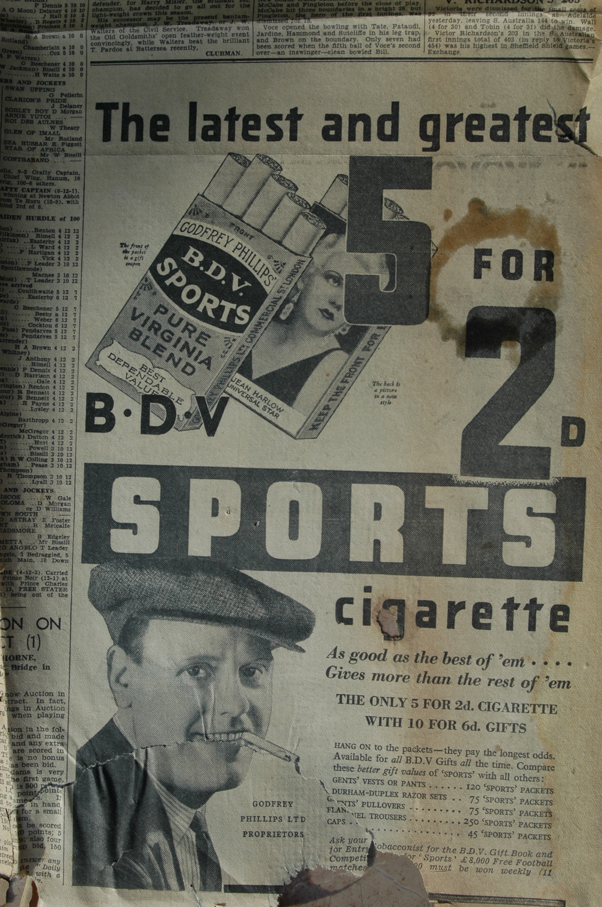 1932 cigarette advertisement